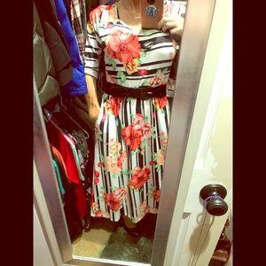 EUC!  3/4 Sleeve Midi Dress.Tropical Print/Stripes